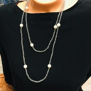 Nordstrom necklace silver beads white pearls NWT